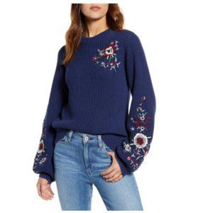Lucky Brand Floral Embroidered Pullover Sweater